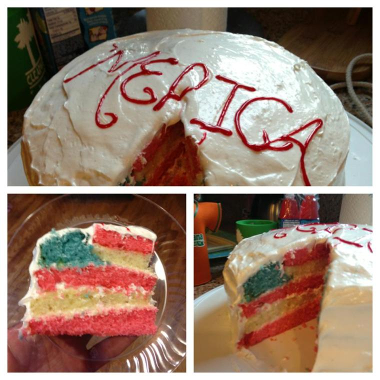 Amazing right? Here's where I found the tutorial. Totally worth the extra effort. http://www.glorioustreats.com/2011/06/4th-of-july-flag-cake.html
