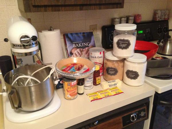My cooking and baking marathon for Thanksgiving! 2 pumpkin pies & honey oat loaf later...
